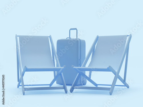 Obraz na plátne Two sun loungers and a travel suitcase in blue. 3d illustration