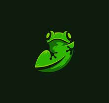 Fully Editable Logo With A Green Frog