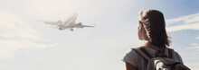 Woman Looking At Plane Flying Above The Sea Panoramic Banner, Travel, Tourism, Enjoy Life And Active Lifestyle Concept