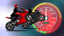 Ladies Motorcycle Racer In A Black Tight Suit And A Helmet. High-speed Sportbikes On The Background Of A Glowing Red Speedometer. Poster Of Race With Word, Start