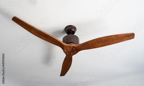 Canvas wooden fan in ceiling