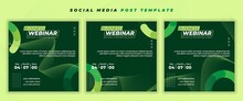 Set Of Social Media Post Template With Green Design.