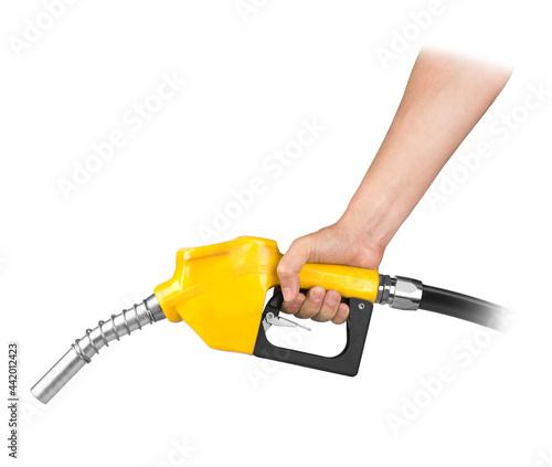 Photo Hand holding petrol pistol isolated on white