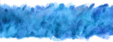 Abstract Blue Watercolor Blot Painted Background, Isolated On White