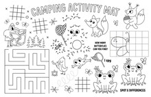 Vector Camping Placemat For Kids. Summer Camp Holidays Printable Activity Mat With Maze, Tic Tac Toe Charts, Connect The Dots, Find Difference. Black And White Play Mat Or Coloring Page With Animals.