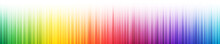 Rainbow Gradient Vertical Stripes With Fade Out Effect On White Background. Many Random Transparent Overlapped Colorful Lines. Vector Illustration