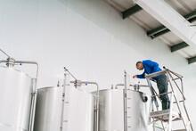 Brewer On Ladder Filling Fermentation Reservoir In Beer Factory
