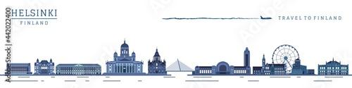 European tourism and travel. Finland metropolitan Helsinki historical landmarks silhouette vector illustration.