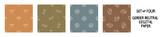 Fototapeta Dinusie - Seemless background dinosaur foot print set of 4 patterns. Whimsical minimal earthy 2 tone color. kids nursery wallpaper or boho cartoon pet fashion all over print.