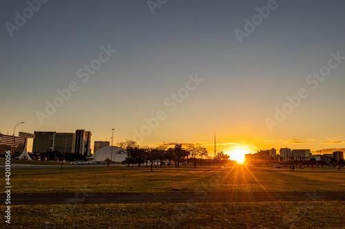Fotografia, Obraz Pôr do sol na Esplanada dos Ministérios em Brasília.