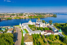 Aerial Drone View Of The Orthodox Holy Trinity Ipatievsky Monastery During Summer With Volga River In Kostroma, Russia.