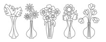 Vases Black Line And Flowers With Long Stems Vector Flat Set. Icons For Mobile App And Websites. Design For Greeting Cards, Banners, Invitations, Posters. Monstera, Tulips, Chamomile, Gerbera.