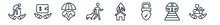 Linear Set Of Insurance Outline Icons. Line Vector Icons Such As Retirement, Deposit Insurance, Life Insurance, Bite, Disaster, Familiar Vector Illustration.