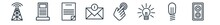Linear Set Of Technology Outline Icons. Line Vector Icons Such As Cell Tower, Dialysis, Summary, Receive Money Message, Touchscreen, Sound Box Vector Illustration.
