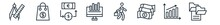 Linear Set Of Business Outline Icons. Line Vector Icons Such As Maths Tool, Shopping Bags, Money Convert, Statistical Chart, Employee Going To Work, Two Folders Vector Illustration.