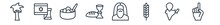 Linear Set Of Religion Outline Icons. Line Vector Icons Such As Palm Tree With Date, Israel Flag, Matzo Ball Soup, Communion, Moses, One God Vector Illustration.