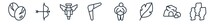 Linear Set Of Stone Age Outline Icons. Line Vector Icons Such As Dinosaur Egg, Bow And Arrow, Totem, Boomerang, Venus Of Willendorf, Moai Vector Illustration.