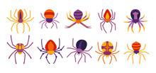 Spider Halloween Cartoon Set. Spooky Scary Spiders Dangerous Tarantula Color Flat Collection. Creepy Decoration For Horror Design. Party Halloween Venomous Spider Or Dangerous Arachnid. Vector