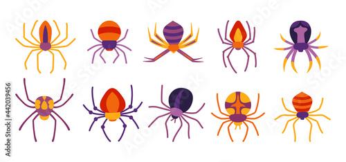 Canvastavla Spider Halloween cartoon set