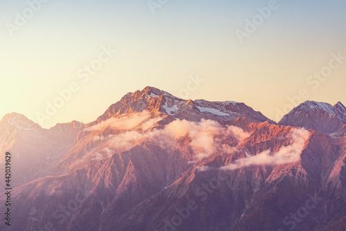 Chugush mountain view at autumn evening time. Caucasus. Fototapet