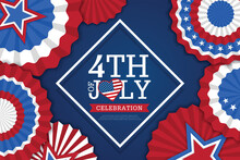 4th Of July Banner Vector Illustration. Independence Day, US Flag With 4th Of July On Blue Background.