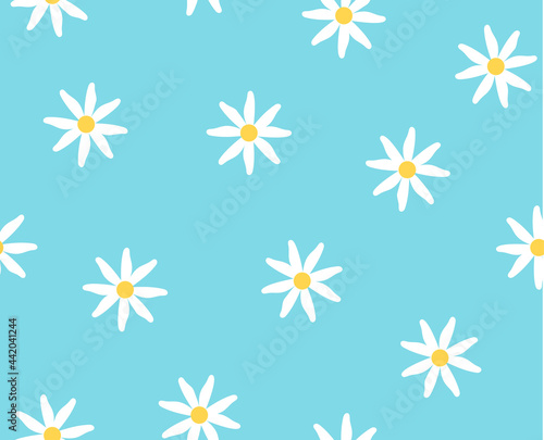 Abstract seamless pattern. Limitless art white chamomile on blue background, doodle hand drawn repeat ornament. Boundless decor for fabric, paper wrap, print, wallpaper design. Vector illustration