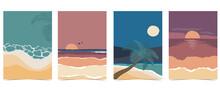 Beach Postcard With Sun,sea And Sky In The Nightime