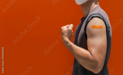 Fotografiet Vaccinations, bandage plaster on vaccinated people's arm concept.