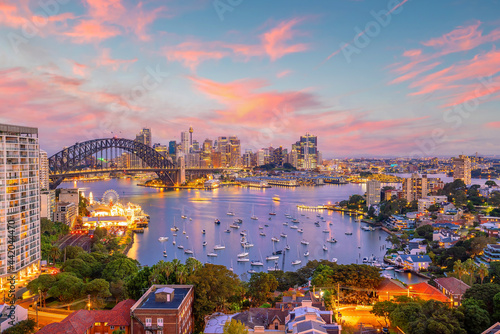 Fototapeta Downtown Sydney skyline in Australia from top view