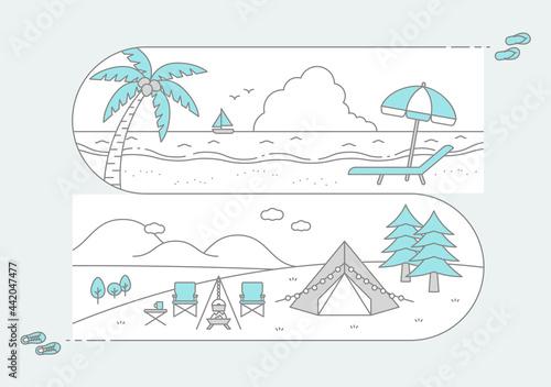 海と山の風景、ビーチリゾートとキャンプ場の横長イラスト