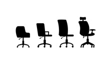A Set Of Black Silhouettes Of Office Chairs On Wheels A Vector Illustrations.