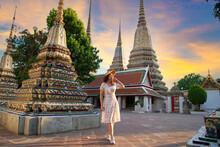 Women Asian Thai Lady Travel In Bangkok , Thailand,Wat Arun Is Popular Travel Place For Tourist Near Wat