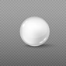 White Round Glass Ball, Sphere Or Precious Pearl With Highlights And Shadow.