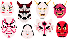 Traditional Japanese Theater Masks Icons Set