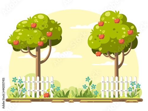 Obraz na plátně Fruit trees with ripe apples in the garden
