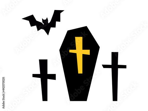 Foto 棺桶(お墓、十字架、コウモリ)