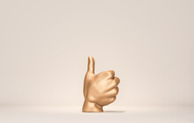 3d Rendering Of White Hand Thumb Up, Like Gesture, Gold Male Mannequin Hands Isolated On White Background, Body Parts, Fashion Concept, Holding Gesture, Clean Minimal Design, Blank Space