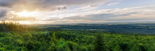 Panoramic View To Forest Summer Czech Valley Landscape With Small Vilage Besednice At Sunset Cloudy Sky