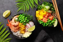 Poke Bowls With Shrimps, Salmon, Avocado And Mango