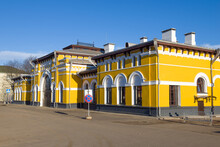 Facade Of The Building Of The Old Railway Station Of The Sharya Station On A Sunny April Day, Russia