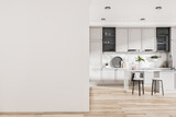 Fototapeta Kawa jest smaczna - Modern kitchen interior with island, appliances, sunlight and mockup place on wall. Design concept. Mock up, 3D Rendering.