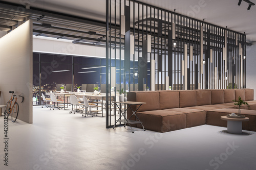 Foto Modern office lobby interior with big couch, city view and daylight