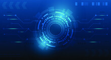 Abstract Technology Background With Circuit And Technology Working.Blue Technology Background Design.