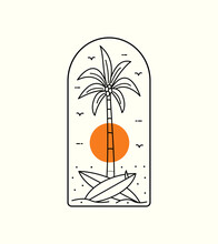 Beach View With Palm Trees And Surfboard In Mono Line Art, Patch Badge Design, Emblem Design, T-Shirt Design