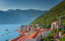 BUDVA, MONTENEGRO - 9 AUGUST, 2019: Panoramic View On The Old Town Of Budva, Montenegro
