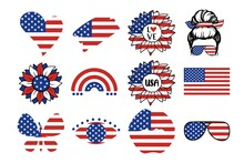 USA Independence Day Symbols Set With Flag, Rainbow, Hearts, Lips, Eyes, Sunflower, Quotes, Woman Isolated On White Background. Vector Flat Illustration. Design For Banner, Poster, Greeting Card