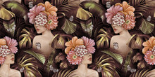 Tropical Golden Seamless Pattern With Women, Bouquets Of Hibiscus Flowers, Plumeria, Cactus, Monstera, Palm, Banana Leaves, Butterflies. Hand-drawn Vintage 3D Illustration. Good For Luxury Wallpapers