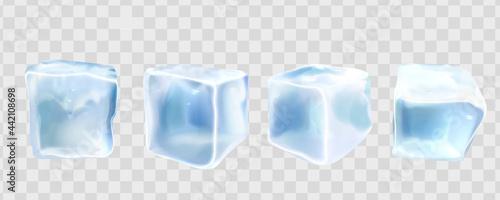 Fotografia 3d realistic crystal ice cubes set