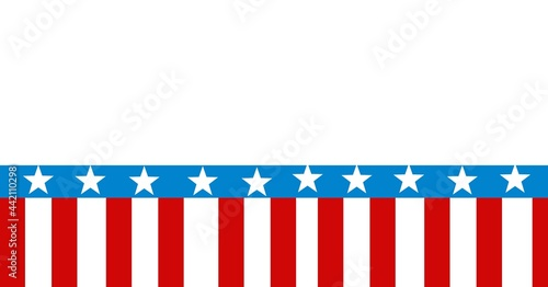 Composition of band of stars and stripes of american flag with white copy space above