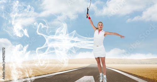 Composition of female tennis player holding tennis racket at sports field